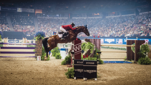 Vinton Karrasch and Coral Reef Follow Me II (Rudy) compete in the 2015 Longines FEI World Cup™ Jumping Final in Las Vegas, their first international championship. | © Amy K. Dragoo/AIMMEDIA