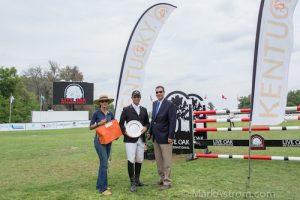 "Carolina Ceruti and Cesar Hirsch of Equis Boutique with the ""Best Presented Horse"" Award winner Vinton Karrasch. Photo © MarkAstrom.com"